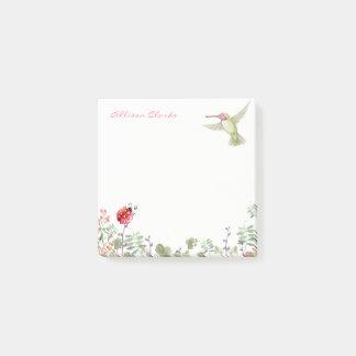 Bloco De Notas Jardim do joaninha do colibri da menina da