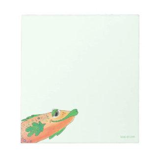 Bloco De Notas Laranja de pintura e verde dos peixes Funky