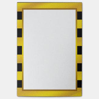 Bloco De Notas Listra dourada do preto da folha de ouro limpa