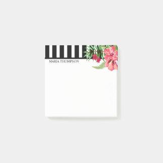 Bloco De Notas Listras brancas e pretas e flores exóticas