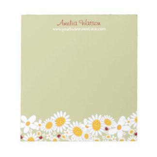 Bloco de notas lunático das flores dos joaninhas