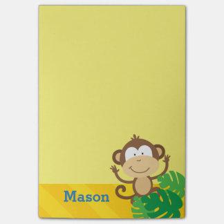 Bloco De Notas Macaco nas notas de post-it personalizadas selva