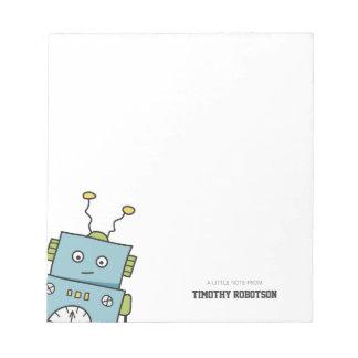 Bloco De Notas Mão azul bonito robô tirado