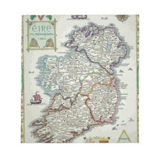 Bloco De Notas Mapa de Ireland - mapa histórico de Eire Erin do