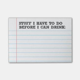 Bloco De Notas Material que eu tenho que fazer antes que eu beber