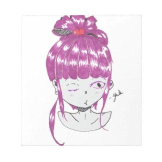 Bloco De Notas menina adolescente do cabelo cor-de-rosa do chibi