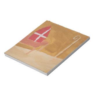 Bloco De Notas Mitra da aguarela de Sinterklaas do Dutch do dia