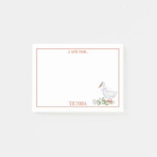 Bloco De Notas Monograma branco | dos rosas brancos do pato da