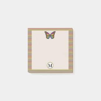 Bloco De Notas Monograma rústico das riscas legal da borboleta do