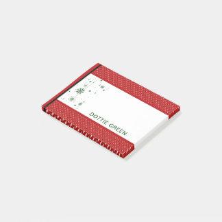 Bloco De Notas Nome personalizado do feriado verde vermelho