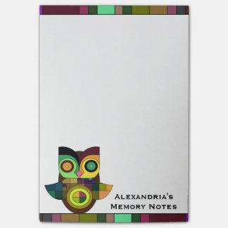 Bloco De Notas Notas astecas tribais Funky da memória da coruja
