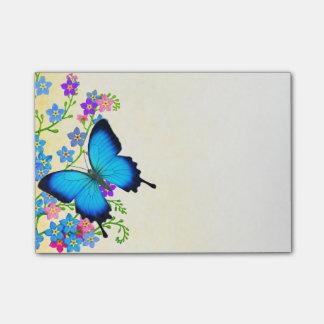 Bloco De Notas Notas de post-it azuis da borboleta de Ulysses