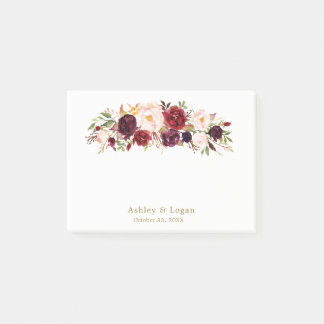 Bloco De Notas Notas de post-it florais elegantes do casamento do