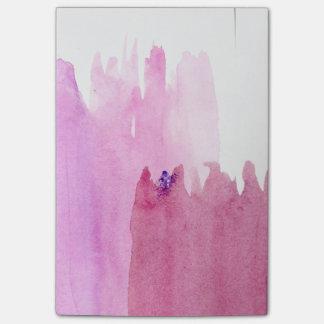 Bloco De Notas Notas pegajosas da aguarela cor-de-rosa