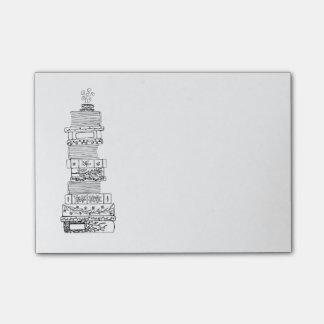 Bloco De Notas Notas pegajosas preto e branco de Bookstack
