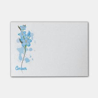 Bloco De Notas O azul abstrato floresce 4x3