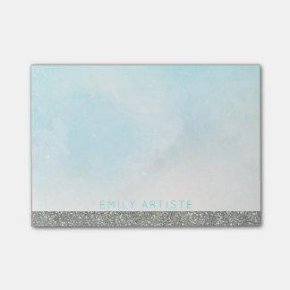Bloco De Notas O azul | do Aqua da aguarela personalizou o brilho