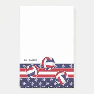 Bloco De Notas o voleibol das mulheres abstratas da bandeira
