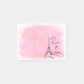 Bloco De Notas Paris eu te amo PXLY cor-de-rosa
