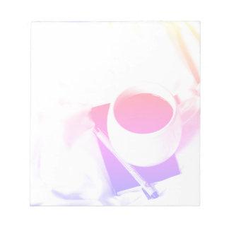 Bloco De Notas Pequeno almoço do copo de café do arco-íris no chá