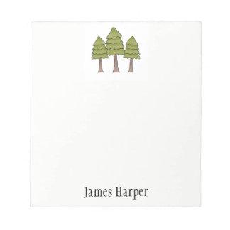 Bloco de notas personalizado do pinheiro