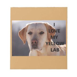 Bloco De Notas PIC amarelo de w do amor de Labrador