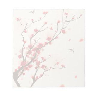 Bloco De Notas Pintura asiática do estilo, flor da ameixa no