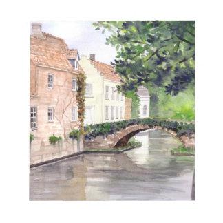 Bloco De Notas Pintura da aguarela de Bruges pelo Greenfield de