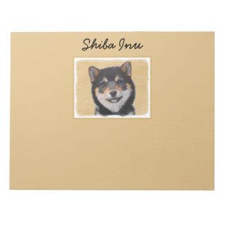 Bloco De Notas Pintura de Shiba Inu (preto e Tan) - arte do cão