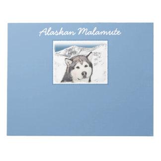 Bloco De Notas Pintura do Malamute do Alasca - arte original