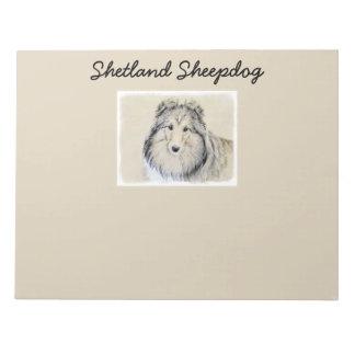 Bloco De Notas Pintura do Sheepdog de Shetland - arte original