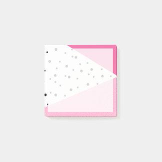 Bloco De Notas Pontos pretos de couro cor-de-rosa geométricos