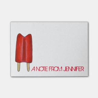 Bloco De Notas Post-it gêmeo vermelho personalizado do Popsicle
