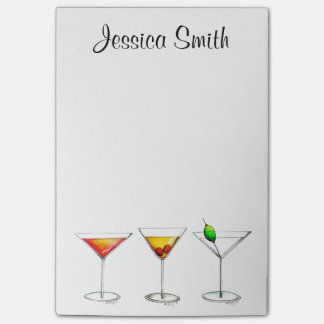 Bloco De Notas Post-it personalizado dos cocktail de Martini