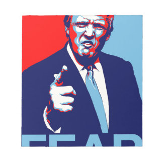 """Bloco De Notas Poster 2017 da paródia do """"medo"""" de Donald Trump"""