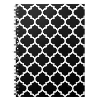 Bloco de notas preto e branco de Quatrefoil Cadernos Espiral