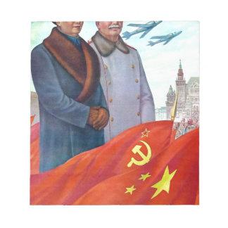 Bloco De Notas Propaganda original Mao Zedong e Josef Stalin