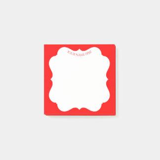 Bloco De Notas Quadro vermelho à moda do feriado com seu nome