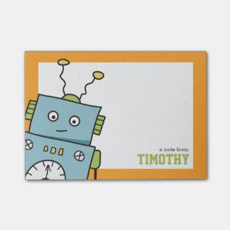 Bloco De Notas Robô azul bonito com nome personalizado