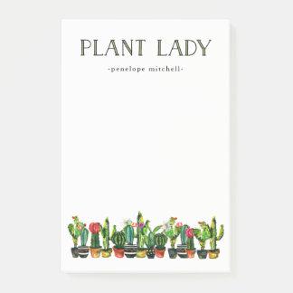 Bloco De Notas Senhora na moda e engraçada da planta com cacto