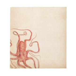 Bloco De Notas Sepia envelhecido Steampunk do mar polvo vermelho
