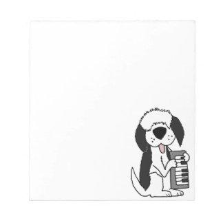 Bloco De Notas Sheepdog inglês velho engraçado que joga o teclado