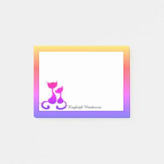 Bloco De Notas Silhueta dos gatos do arco-íris personalizada