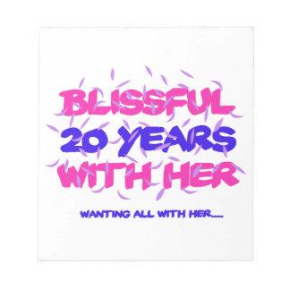 Bloco De Notas Tendendo o 20o design do aniversário do casamento