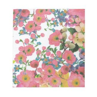 Bloco De Notas teste padrão floral do tema das flores elegantes