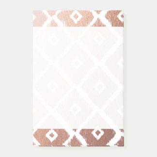 Bloco De Notas Teste padrão tribal cor-de-rosa da folha de ouro