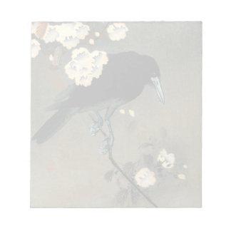 Bloco De Notas Um corvo e uma flor pelo vintage de Ohara Koson
