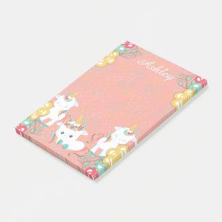 Bloco De Notas Unicórnios bonitos e Personlized floral