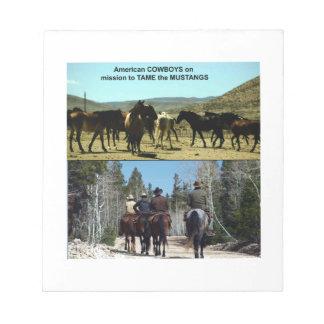 Bloco De Notas Vaqueiros americanos na viagem aos cavalos do