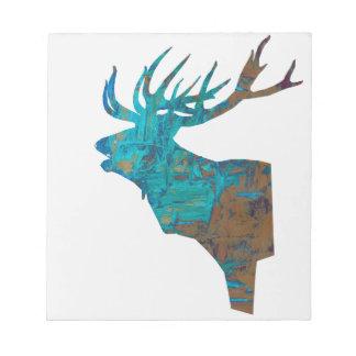 Bloco De Notas veado principal dos cervos nos turquois